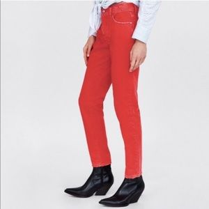 ZARA Mom Fit Button Fly Coral Distressed Jeans